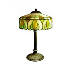 Antique Handel Opalescent Green Leaded Glass Acorn Pattern Bronze Lamp