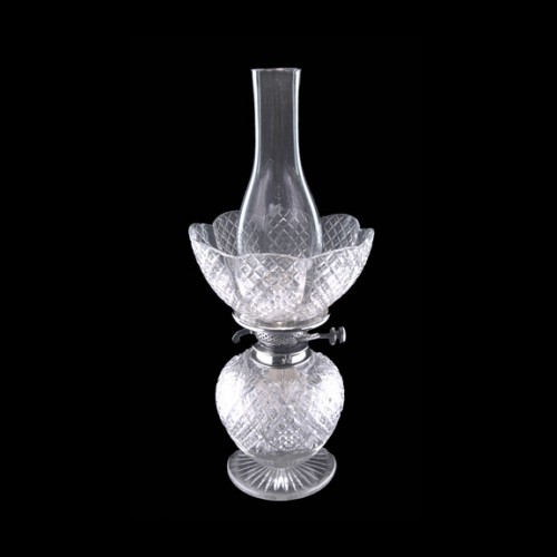 RARE Antique Cut Glass Strawberry Diamond Oil Lamp
