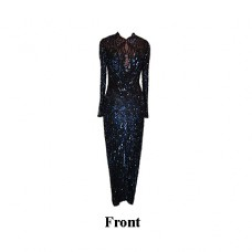 Bob Mackie Carnival Blue Beaded and Sequin Gown