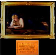 Gold Framed Antique Reclining Nude on Porcelain