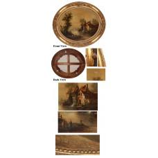 Gold Oval Framed Artwork
