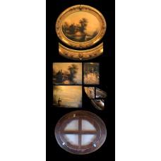 Gold Oval Framed Flemish Artwork