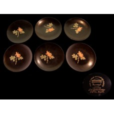Maruni Lacquerware Set of 6 Footed Floral Dishes