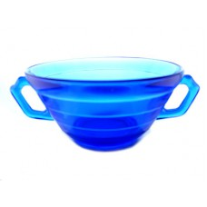 Moderntone Depression Cobalt Cream Soup Bowl