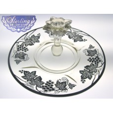 Vintage Sterling Overlay on Clear Crystal Center Handled Sandwich Server with Grape and Leaves Motif by Silver City Glass Co.