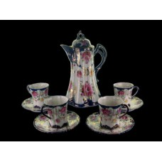 Nippon Cobalt and Floral Chocolate Set - Unmarked