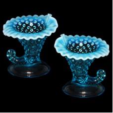 Fenton Cornucopia Blue Hobnail Candleholders