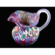 Millefiori Matte Finish Pitcher w/applied Handle