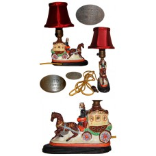 Figural Porcelain Horse and Carriage Lamp - Japan