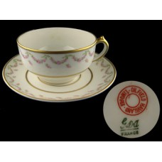 Haviland Limoges Pink Rose Garland Cup & Saucer