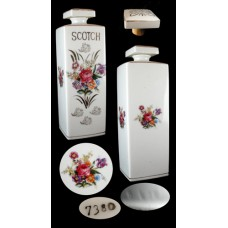 Vintage Hand Painted Floral Square Scotch Decanter