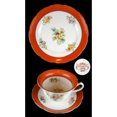 Coronation China Orange Trim 3 Pc. Set - Japan