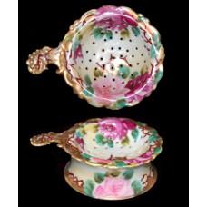 Porcelain Floral and Gold Trim Tea Strainer