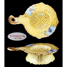 Porcelain Yellow Floral and Gold Trim Tea Strainer