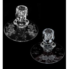 Vintage Etched Floral Clear Glass Candlesticks