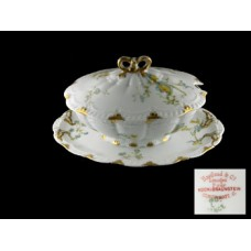 Haviland Limoges Blue Floral Covered Gravy Boat