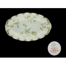 Haviland Limoges Blue Floral Oval Serving Dish