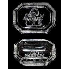 Intaglio Art Glass Clear Open Salt Cellar
