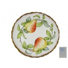 Gold Scalloped Dish with Pears and Leaves
