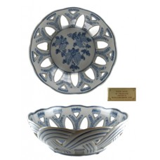 Floral Blue & White Open Weave Basket Bowl