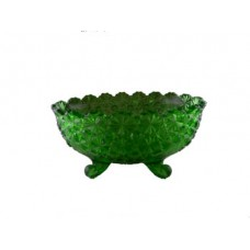 Wright Glass Green Daisy & Button Footed Oval Bowl