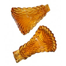 Depression Amber Feather/Bead Glass CurtainTieback