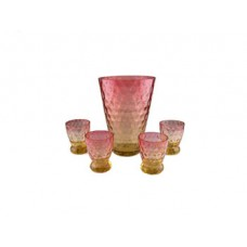 Amberina Inverted Thumbprint Cocktail Set