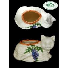 CBK LTD Kitty Cat Planter w/Purple Wisteria