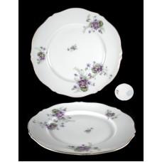 L S & S Purple Floral Dinner Plate - Austria