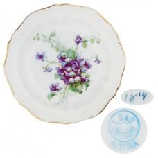 L S & S Purple Floral Scalloped Butter Pat
