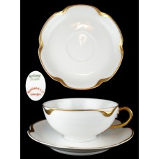 Haviland Gold Scalloped Cup & Saucer Set