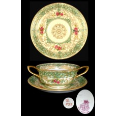 Royal Worcester Pattern Z532 Bouillon Cup & Saucer