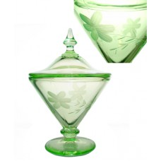Green Depression Covered Etched Candy Dish