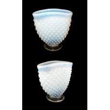 Fenton White Opalescent Hobnail Fan Vase
