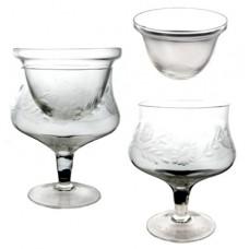 Vintage Clear Glass Floral Etched Shrimp Cocktail Icer with Insert Liner