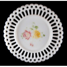 Vintage Milk Glass Pierce Plate with Floral Design