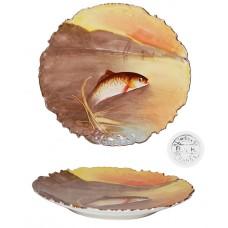 Antique B & H Limoges Decorative Fish Game Plaque Plate
