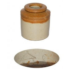 Antique 2-Toned Stoneware Inkwell