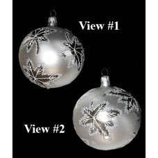 Vintage Silver Round Glass Holiday Ornament - Poland