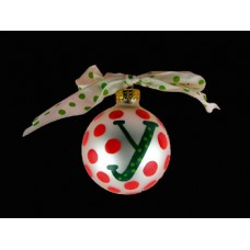 "Colton Pottery Hand Painted Green ""y"" Initial and Red Polka Dot Holiday Ornament with Bow"