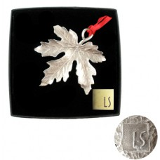 L S Collection Silverplated Leaf Holiday Ornament