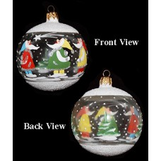 Clear Round Hand Painted Holiday Ornament