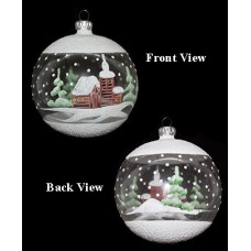 Clear Glass Round Hand Painted Holiday Ornament