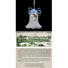 Vintage West Germany Felicitas Blue Bell Ribbon Handmade Ornament
