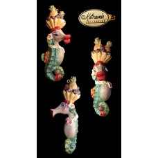 Katherine's Collection Glittery Carmen Miranda Kissing Seahorse Holiday Ornament