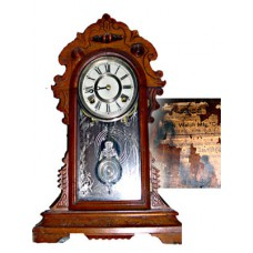 E. N. Welch Walnut Gingerbread Clock