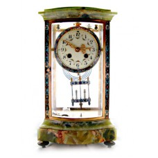 French Empire Cloisonne and Green Onyx Marble Regulator Mantle Clock