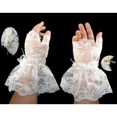 Victorian Style White Fingerless Gloves