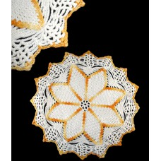 Vintage Yellow and White Crocheted Spider-WebDoily