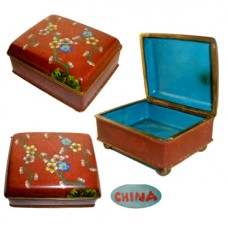 Antique Red Footed Cloisonne Box with Floral Motif